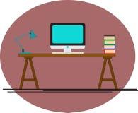 Escritorio de oficina Ordenador en la oficina Sitio del negocio Fotografía de archivo