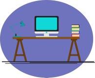 Escritorio de oficina Ordenador en la oficina Sitio del negocio Imagen de archivo