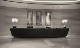 Escritorio de recepción moderno del hotel imagenes de archivo