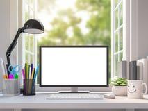 Escritorio de trabajo blanco fácil con imagen en blanco de la representación de la pantalla de monitor de computadora 3d ilustración del vector