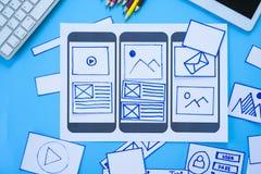 Escritorio de trabajo con las manos que clasifican las pantallas del wireframe de la página web responsiva móvil Maqueta del dise imagen de archivo libre de regalías