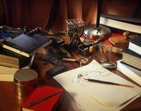 Escritorio de un escritor Imágenes de archivo libres de regalías