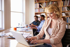 Escritorio de Using Laptop At de la empresaria en oficina ocupada imagen de archivo