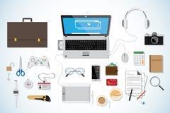 Escritorio del negocio de la visión superior, concepto del lugar de trabajo, colección blanca Fotografía de archivo