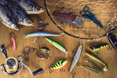 Escritorio del pescador imagen de archivo