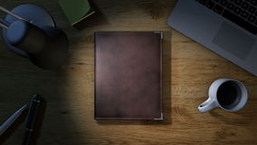 Escritorio del trabajo con la abertura de la libreta para las notas libre illustration