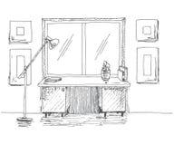 Escritorio dibujado mano delante de la ventana Lámpara de pie siguiente Ejemplo del vector en estilo del bosquejo ilustración del vector