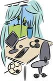 Escritorio en el child& x27; dormitorio de s Fotos de archivo libres de regalías