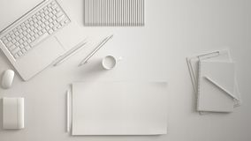 Escritorio mínimo monocromático blanco de la tabla de la oficina Espacio de trabajo con el ordenador portátil, el cuaderno, los l ilustración del vector