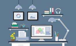 Escritorio moderno con el sistema, los documentos y los efectos de escritorio del ordenador Workpla Fotos de archivo libres de regalías