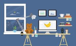 Escritorio moderno con el sistema, los documentos y los efectos de escritorio del ordenador Workpla Imagen de archivo