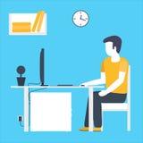 Escritorio que se sienta del hombre de negocios Concepto de diseño plano del espacio de trabajo con el ordenador Fotos de archivo