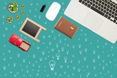 Escritorio simple de la opinión de esquina de oficina, visión cómoda, visión superior ilustración del vector