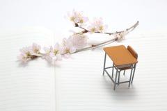 Escritorio y flores de cerezo del estudio Foto de archivo libre de regalías