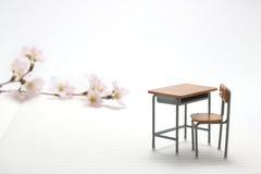 Escritorio y flores de cerezo del estudio Fotografía de archivo
