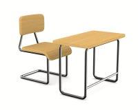 Escritorio y silla de la escuela en el fondo blanco Foto de archivo libre de regalías