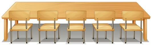 Escritorio y sillas de madera libre illustration