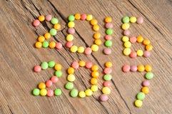 2016 2017 escritos con los caramelos coloridos Fotos de archivo