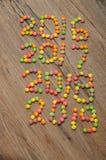2016 2017 2018 2019 escritos con los caramelos coloridos Foto de archivo