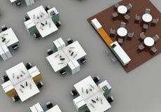 Escritório do espaço aberto. no fundo cinzento Fotografia de Stock