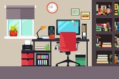 Escritório domiciliário no estilo liso Fotografia de Stock