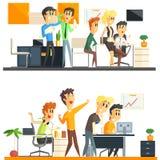 Escritório Team Two Illustrations Collection Fotos de Stock
