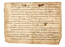Escritura antigua Fotografía de archivo libre de regalías
