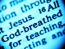 Escritura (a Bíblia) - inspirada por Deus Imagens de Stock