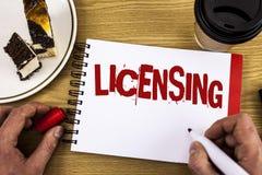 Escritura conceptual de la mano que muestra la autorización La foto del negocio que muestra a Grant un permiso de la licencia el  foto de archivo
