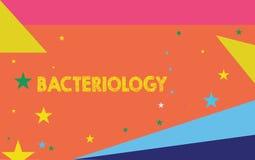 Escritura conceptual de la mano que muestra la bacteriología Rama de exhibición de la foto del negocio de la microbiología que tr stock de ilustración