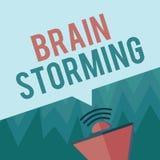 Escritura conceptual de la mano que muestra a Brain Storming Ideas que se convierten estimulantes de exhibición Discu del pensami Ilustración del Vector