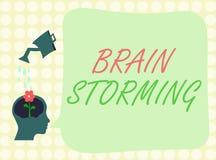 Escritura conceptual de la mano que muestra a Brain Storming Ideas que se convierten estimulantes de exhibición Discu del pensami Libre Illustration