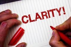 Escritura conceptual de la mano que muestra claridad Transparencia de exhibición Accur de la comprensibilidad de la pureza de la  imagen de archivo