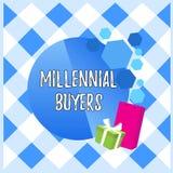 Escritura conceptual de la mano que muestra a compradores milenarios Tipo de exhibici?n de la foto del negocio de consumidores qu libre illustration