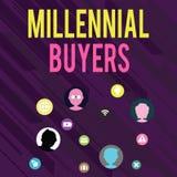 Escritura conceptual de la mano que muestra a compradores milenarios Tipo de texto de la foto del negocio de consumidores que est stock de ilustración