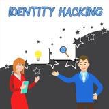 Escritura conceptual de la mano que muestra cortar de la identidad Criminal de exhibición de la foto del negocio que roba su demo ilustración del vector