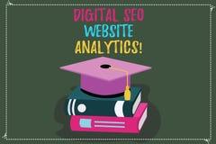 Escritura conceptual de la mano que muestra Digitaces Seo Website Analytics Optimización del Search Engine del texto de la foto d stock de ilustración