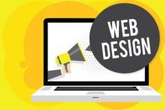 Escritura conceptual de la mano que muestra diseño web Exhibición de la foto del negocio quién es responsable de la producción y  stock de ilustración