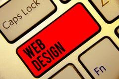 Escritura conceptual de la mano que muestra diseño web Texto de la foto del negocio que es responsable de la producción y del man stock de ilustración