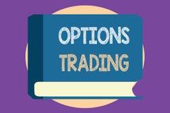 Escritura conceptual de la mano que muestra el comercio de opciones Foto del negocio que muestra diversas opciones para hacer el  ilustración del vector