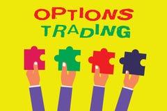 Escritura conceptual de la mano que muestra el comercio de opciones Foto del negocio que muestra diversas opciones para hacer el  stock de ilustración