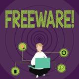 Escritura conceptual de la mano que muestra el Freeware Aplicación de software del texto de la foto del negocio en la cual está d stock de ilustración