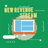 Escritura conceptual de la mano que muestra el nuevo corriente de ingresos Acercamiento mejorado fuente de ingresos aumentado adi ilustración del vector