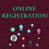 Escritura conceptual de la mano que muestra el registro en l?nea Registro de exhibición de la foto del negocio vía Internet como  ilustración del vector