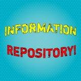 Escritura conceptual de la mano que muestra el repositorio de la información Texto de la foto del negocio un lugar en donde los  stock de ilustración