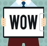 Escritura conceptual de la mano que muestra el wow El texto de la foto del negocio que expresa éxito histórico del asombro y del  ilustración del vector