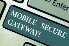 Escritura conceptual de la mano que muestra la entrada segura móvil Trincas de exhibición de la foto del negocio del phishing o ilustración del vector