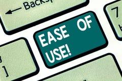 Escritura conceptual de la mano que muestra facilidad de empleo Fácil fácil de usar del texto de la foto del negocio actuar la te stock de ilustración