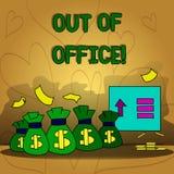 Escritura conceptual de la mano que muestra fuera de oficina Texto de la foto del negocio fuera del trabajo nadie en ocio de la r libre illustration