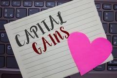 Escritura conceptual de la mano que muestra ganancias sobre el capital La acción de exhibición de las partes de los enlaces de la fotos de archivo libres de regalías